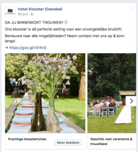 Facebook advertentie Hotel Klooster Elsendael.