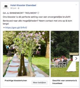 Facebook advertentie Hotel Klooster Elsendael.