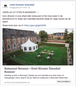 Facebook advertentie Hotel Klooster Elsendael