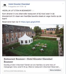 Facebook advertentie Hotel Klooster Elsendael
